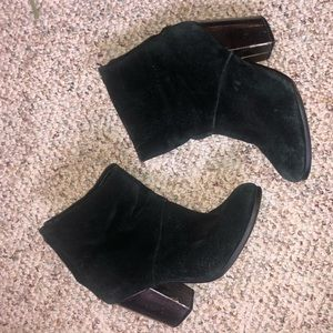 Aldo suede booties with silver heel